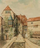 O.v. MAYDELL, Im Innenhof der Wartburg, Eisenach, 1924, Aquarell