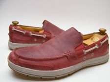 MENS RED COLE HAAN C12438 RED LEATHER SLIP ON BOAT SHOES LOAFERS SZ 10 M 10M