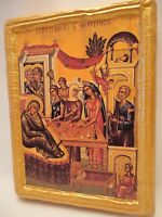 Nativity of Theotokos Mary Saint Anne Byzantine Greek Orthodox Icon on Pine Wood