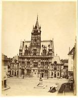 France, Compiegne, Hôtel de Ville  Vintage albumen print.  Tirage albuminé