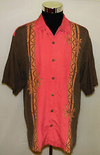Tommy Bahama Relax Bamboo Sticks Designs Men's 100% Silk Button Up Shirt Size L