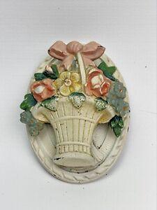 Vintage Cast Iron Door Knocker Original  Hubley Style Flower Basket Country Chic