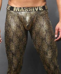 Andrew Christian  Massive Radiant Leggings mesh  Large Gold Sexy