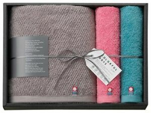 Imabari Trend Colorful Days Blue & Pink Hand & Grey Bath towel Made in Japan New