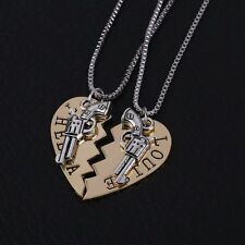 2x Thelma & Louise Necklace Gold Partners in Crime Pistol Best Friend Friendship
