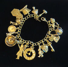 Alice in Wonderland Charm Bracelet 24 Karat Gold Plate 7 inch Rabbit Hat Queen