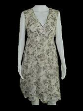 Banana Republic Cream Silk Cotton Blend Floral Print Sleeveless Dress 2P Petites