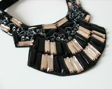 Big Statement Necklace Sequins Beads Rhinestones Black Crystal Choker Fashion