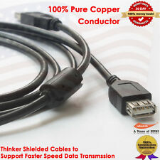 6ft Hi-Speed USB 2.0 A-Male to A-Female Extension Cable w/Ferrite Core 480 Mbps