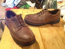 Mens Size 9 HUSH PUPPIES Lace Up Solid Brown Leather Shoes