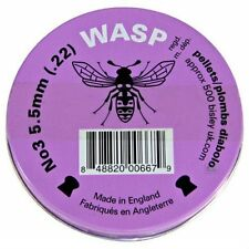 500 x .22 5.5mm WASP DOMED AIR GUN PELLETS AMMO SHOOTING PURPLE TIN