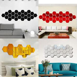 12Pcs Mini 3D Hexagon Wall Stickers Mirror Removable Acrylic Home Decor Decal CA