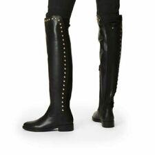 Stunning Kurt Geiger Black Leather Stud Detail Over The Knee Boots Sz 4/37.BNIB.