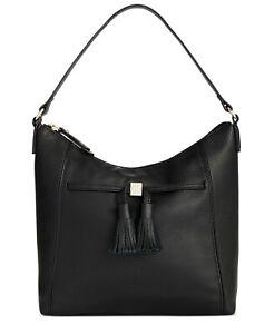 Giani Bernini Pebble Leather Tassel Hobo Shoulder Bag NWT $169 Black