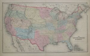 Original 1857 JH Colton Map UNITED STATES OF AMERICA Western Territories Kanzas