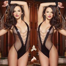 Open Crotch Fishnet Body Stocking Lingerie Lace Bra Nightwear Babydoll Set XL Black