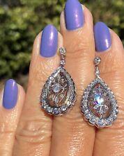 14K White Gold Diamond Teardrop Stud Antique Edwardian Earrings