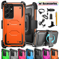 For Samsung Galaxy S21/S21+/S21 Ultra 5G Case Rugged Rubber Cover w Belt Holster