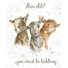 Goat Blank Birthday Greeting Card – Just Kidding by Wrendale Designs
