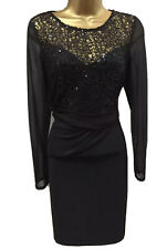 Lipsy Michelle Keegan Bodycon Dress 12 Black Long Sleeve Sequin Evening Party