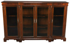 Solid Mahogany Glass Door Breakfront Bookcase With Adjustable Shelves
