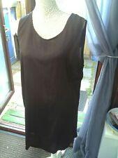 ASOS Size 18 Sleeveless Black Polyester Silk Dress