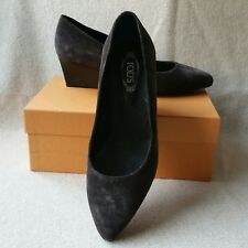 NIB Auth Tod's Tods 38 Suede Pointy Toe Slip on Low Demi Wedge Pumps Heels Shoes