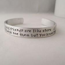 "Statement Cuff Bangle  Handmade Personalised ""good friends are like stars..."""