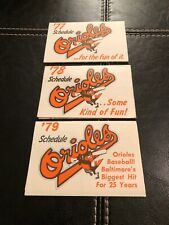Baltimore Orioles Pocket Schedules Lot (3) 1977,1978,1979 Excellent