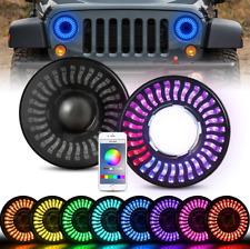 "7"" 3D RGB Halo LED Headlights For 97-20 Jeep Wrangler JK/TJ/LJ/JL&Gladiator JT"
