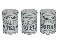 Set Of 3 Retro Tea Coffee Sugar Jar Kitchen Storage Canister Tin Lid Gift Grey