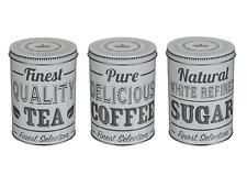 Set di 3 Retro Tè Caffè Zucchero Barattolo da cucina contenitore di stoccaggio TIN Coperchio Grigio Regalo