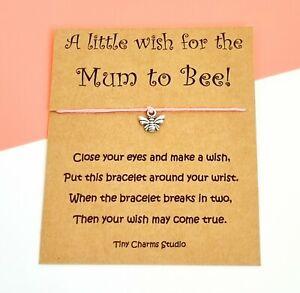 A Little Wish For The Mum To Bee!  Wish Bracelet Baby Shower New Mum Keepsake