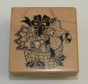 Christmas Basket Rubber Stamp Cookies Gingerbread Man Candy Cane PSX Wood Mtd
