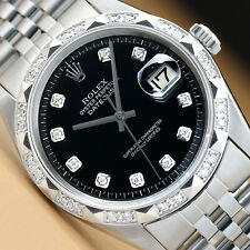 MENS ROLEX DATEJUST 18K WHITE GOLD PYRAMID DIAMOND & STEEL BLACK DIAL WATCH
