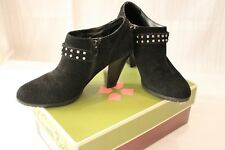 "Black Suede Ankle Boots Naturalizer Metal Accents Side Zip 8 M 3"" Heel"