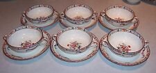 J & G Meakin England RICHMOND - 6 Cream Soup Bowls & Saucers - White w/ Flowers