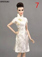 White Dragon Chinese Traditional Dress For Barbie Cheongsam Qipao Clothes 1/6