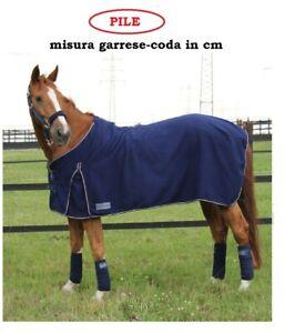 Coperta cavalli pony accappatoio asciugatura allenamento pile scaldareni blu