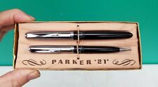 Vintage Parker 21 Fountain Pen & Pencil Set w labels