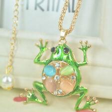 XL Opal Frog Beads Sweater Long Necklace Women Rhinestone Crystal Pendant Gift