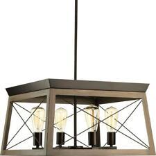 "Progress Lighting Briarwood 20"" 4-Light Antique Bronze Dining Table Chandelier"