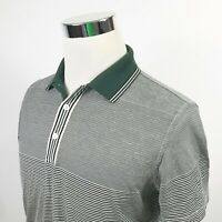 VIP Playboy Collection Mens Small Polo Shirt Green Black White Striped Cotton