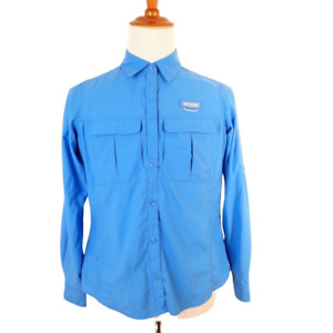 Columbia Womens L Fishing Shirt Blue Long Sleeve Flap Pockets Lined Collared
