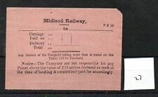 Midland Railway - MR - Luggage Label (27) Carriage Paid Ticket