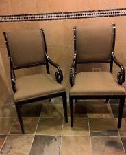 KINDEL FURNITURE Black & Gold Regency Sleigh Back Arm Chair Green/Gold 75-073