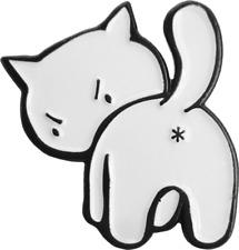 3966 White Glaring Grumpy Kitty Cat Animal Funny Enamel Pin Badge Button Lapel