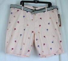 Men's Golf Hipster Palm Tree Shorts Pink Stretch Twill w Belt Size 40 Raw Yarn
