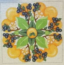 """hand painted needlepoint canvas 10ct oranges & blueberries 12x12"""""""