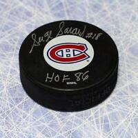 Serge Savard Montreal Canadiens Autographed Hockey Puck with HOF Note